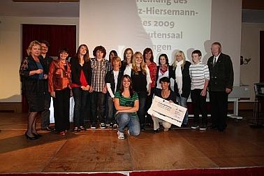 Gruppenbild der Preisträger von der Hauptschule Allersberg
