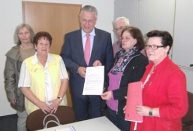 Gruppenbild bei der Übergabe der Petition